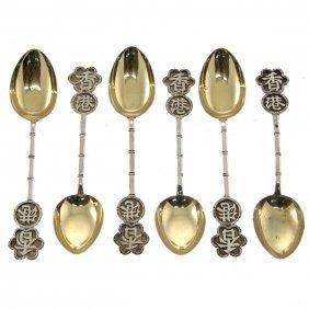 6 Chinese Export Silver Spoons Set, China, Circa 1900.