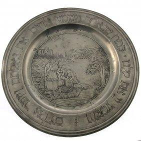 Rare German Pewter Passover Seder Plate Germany Ca 1800