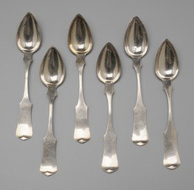 Set Of Six Kentucky Coin Silver Spoons