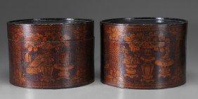 Pair Lidded Tea Boxes