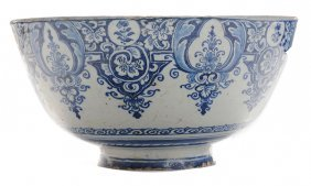 Large Delft Blue And White Punch