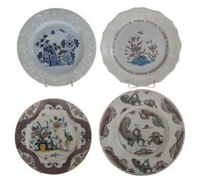 Group Of Four Early Delft Plates