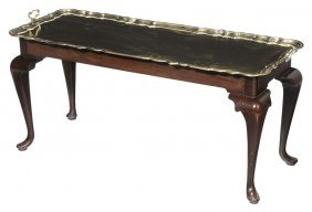 Chippendale Style Brass Tray-top Table