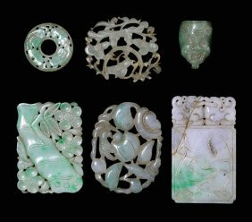 Collection Of Six Carved Jadeite And