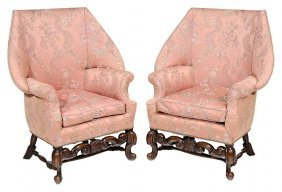 Pair William And Mary Style Damask-