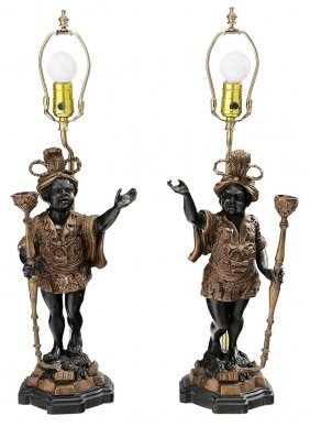 Pair Gilt And Black Patinated Bronze