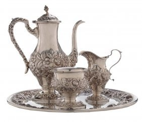Repoussé Sterling Coffee Service And