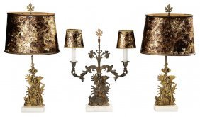 Three-piece Classical Gilt Brass And