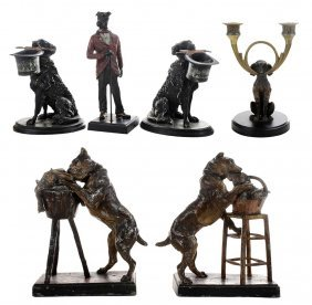 Six Metal Accessories With Figural