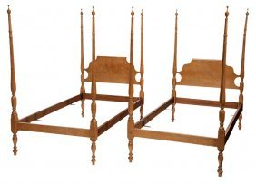 Pair Federal Style Tiger Maple Four-