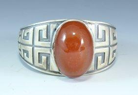 Nanhong Agate Inlaid Silver Bracelet