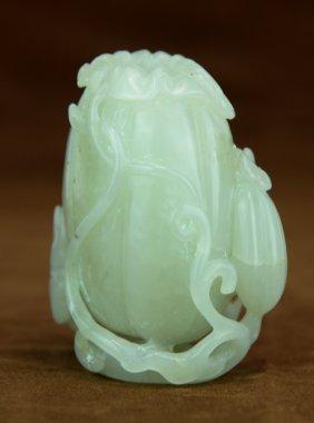 A Carved White Jade Vase
