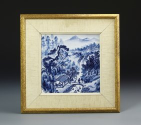 Chinese Framed Blue And White Tile