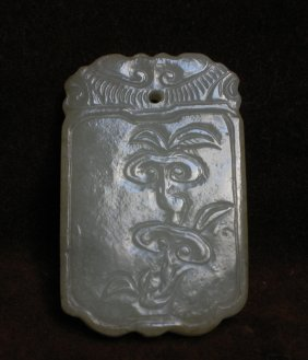 A Grey-white Jade Pendant Of Lingzhi And Figure