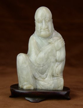 A White Soapstone Luohan Statue With Base