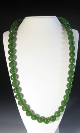 Spinach Jade Beads Necklace