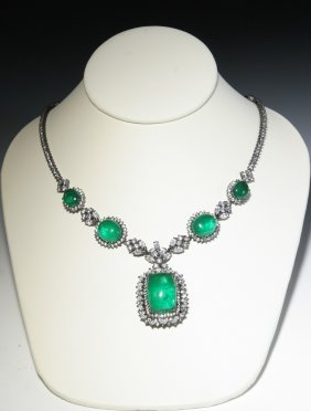 Green Stone Necklace With Silver Inlay