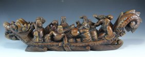 Wooden Ship Carving With Eight Heaven Immortals