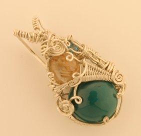 Turquoise-wrap Blue Zircon-rutilated Quartz Pendant