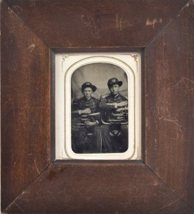 Civil War 1/6 Plate Tintype Of Two Musicians