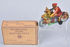 Marx Windup Sparkling Soldier Motorcycle W/box