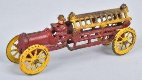 Antique Cast Iron Fire Ladder Truck