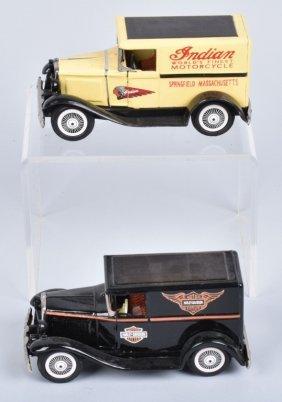 2- Vintage Bandai Indian & Harley Motorcycle Cars