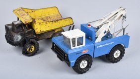 Tonka Mighty Tow Truck W/ Wrecked Dump Truck