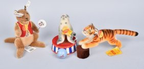 Steiff Cirus Tiger, Seal, & Kangaroo