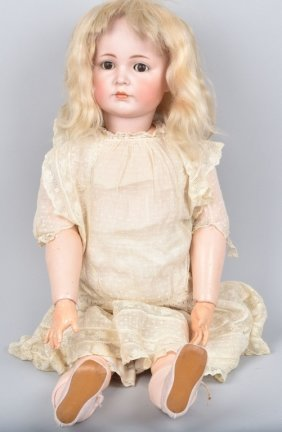 "Simon Halbig Bisque Head Doll, 30"", Vintage"