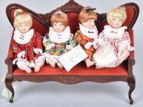 Lot Of 4 Carol Anne Dolls & Settee