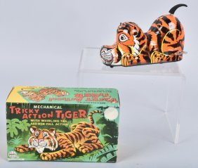Marx Tin Windup Tricky Action Tiger W/box