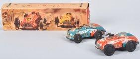 Pn Germany Tin Windup Twin Race Cars W/ Box