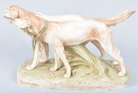Large Royal Dux Style Porcelain Dogs