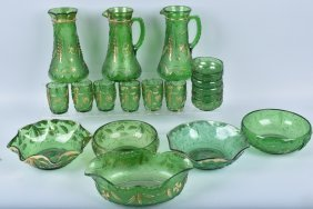 Lot Of 20 Depression Glass Green / Leaf