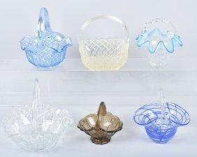 Lot Of 6 Glass Baskets