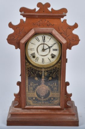 Antique Carved Walnut Kitchen Clock