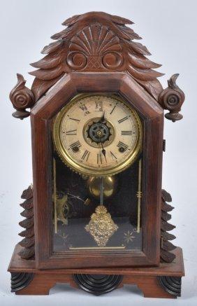 Antique Wm. Gilbert Walnut Kitchen Clock