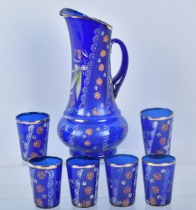 Colbalt Blue Glass Water Pitcher & 6 Glasses