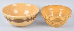 Lot Of 2 Large Stoneware Mixing Bowls