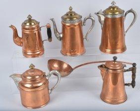 Lot Of Copper Coffee Pots & More