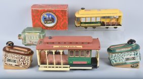 Lot Of Vintage Trolley Jim Beam Decanters