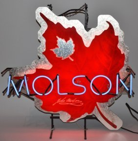 Molson Beer Maple Leaf Neon Sign