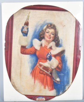 Early Cardboard Pepsi Cola Advertising Sign