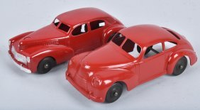 Lot Of 2 Vintage Red Tin Cars