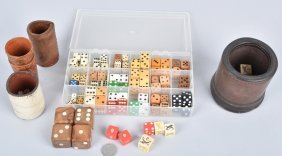 Collection Of Early Dice & Leather Shakers