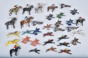 Huge Lot Of Cast Metal Horse & Jockey Figures