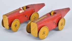 Lot Of 2 1930's Tin Windup Boat Tail Race Cars