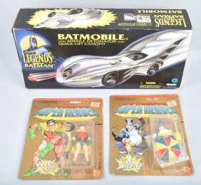 Batman Mobile And Two Batman Fiqures On Cards