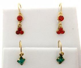 2 Pairs Of Ruby & Emerald Earrings